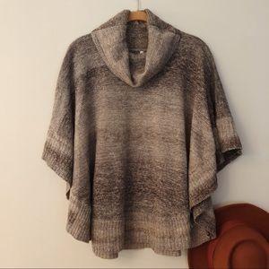Leo and Nicole Gray Poncho Sweater